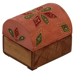 """Bulk Wholesale Handmade 3"""" Trunk-Shaped Mango-Wood Jewelry Box / Trinket Box in Light-Pink & Natural-Wood Color Decorated with Traditional-Look Motifs in Cone-Painting Art – Ethnic-Look Boxes from India"""