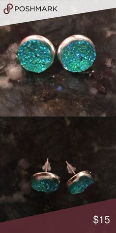 Turquoise druzy studs NWT Adorable studs to add a pop Jewelry Earrings