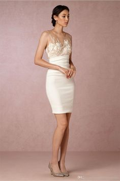 Short Wedding Dresses 2017 Bhldn With Sheer Crew Neck And Illusion Back Embroidered Ivory Satin Sheath Sexy Bridal Party Gowns Custom Made Vintage Inspired Wedding Dresses Wedding Dresses For Older Brides From Uniquebridalboutique, $93.38| Dhgate.Com