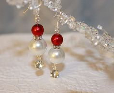 Christmas and Holiday Sterling Silver  Wedding Swarovski Rhinestone and Pearl Earrings for Your Bridesmaids