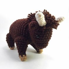 This crochet buffalo is now available in my etsy shop! Check it out at thecrookedspruce.etsy.com. #etsy #crochet #handmade #yarn #buffalo #amigurumi by thecrookedspruce