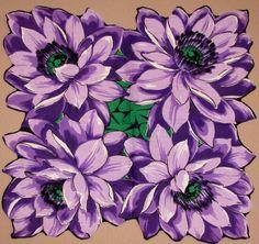 Purple Flowers vintage hanky, old antique handkerchief