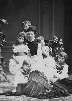 queen alexandra | Alexandra Princess of Wales with her five children, Prince Albert Victor, Prince George, later King George V, Louise Princess Royal, Princess Maud and Princess Victoria - August 1874