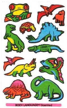 Dinosaurs and Frog Mello Smello Body Language scratch and sniff sticker tattoos - 1980's