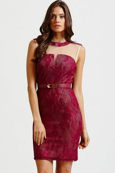 Raspberry Lace Overlay Belted Mesh Dress