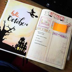 Hello #October. It's going to be a busy month!! . . . #bujojunkies #bujomonthly #bujo #bujojunkie #bulletjournal #bulletjournaljunkies #spooky #spoopy #watercolours