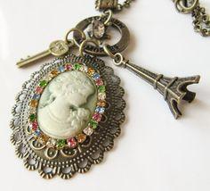 Green cameo necklace with preciosa crystals, by romanticcrafts
