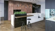 Copper wall paneling gives this kitchen a bit of a design edge.