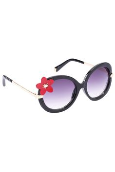 d460c42a1e Flower Embellished Round Red Sunglasses