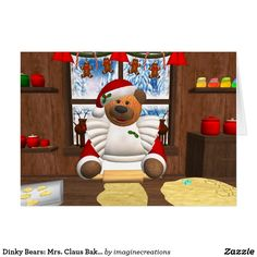 Dinky Bears: Mrs. Claus Baking Day Card