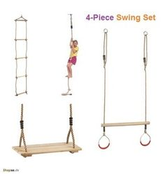 4-Piece Children Swing Set, Rope Ladder–Knot Rope–Trapeze Swing-Wooden Seat | eBay