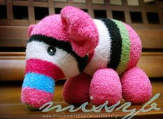 Sock Animal Elephant One of a Kind Super soft and by missybdesigns