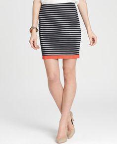Petite Striped Ponte Straight Skirt
