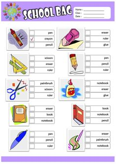 Things in a Schoolbag ESL Printable Missing Letters in Words, Multiple Choice Test, Find the Words, Unscramble the Words Worksheets for Kids! School Items, I School, School Bags, School Supplies List Elementary, School Supplies Highschool, English Worksheets For Kids, 1st Grade Worksheets, English Classroom, Classroom Language