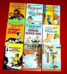 9 Nate the Great Books Sharmat Phony Clue Missing Key Fleeing Fang Ages 6-9