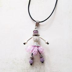 Collier  Shamballa  Danseuse / Pantin «  Rose  »  - sautoir et collier matinée - Lfeemain - Fait Maison