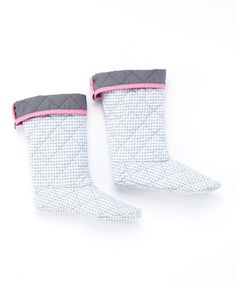Take a look at this Platinum & Pink Gingham Boot Liner on zulily today!