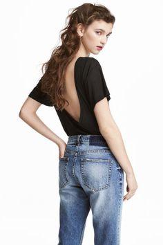 Top avec encolure dans le dos - Noir - FEMME   H&M FR
