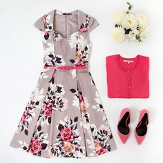Elderberry Dress | Florals | Flatlay Floral Fashion, Fashion Sets, Dress Fashion, Classy Lady, Classy Women, Dress Outfits, Cute Outfits, Review Fashion, Review Dresses