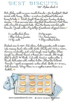 Biscuits by Susan Branch Old Recipes, Vintage Recipes, Cooking Recipes, Biscuit Bread, Biscuit Recipe, Old Fashioned Recipes, Daily Bread, Food Illustrations, Recipe Cards