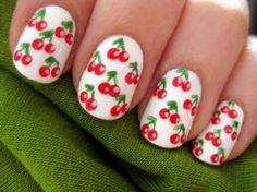Cherry nails DIY #SocialblissStyle #cherry #mani #nails #fashion #beauty #cosmetics