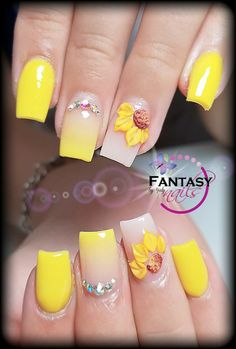 Sunflower yellow by yaly sns dip nails, pedicure nails, nails, coffin nails Pedicure Nails, 3d Nails, Acrylic Nails, Coffin Nails, Nail Art Inspiration, Pearl Nails, Pretty Nail Colors, Sunflower Nail Art, Luxury Nails