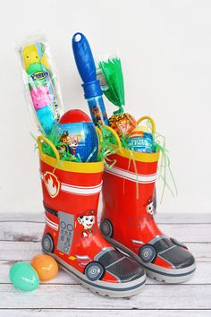 35 Excellent Easter Basket Ideas for Kids, Teenagers, and Adults: Rain Boots Easter Basket