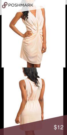 Blush colored knot waist dress 100% polyester blush colored knot waist dress lined skirt Dresses