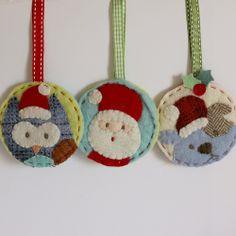 Christmas ornaments owl santa dog felt