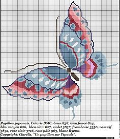 Cross-stitch Butterfly biscornu ... no color chart available, just use the pattern chart as your color guide.. or choose your own colors...     Grille pour biscornu N°3 -