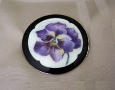 Clement Berg Norway Sterling & Enamel Pansy Pin - lge. 2 1/4""