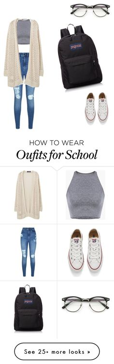 """""""Chill school day"""" by fashioncrazy2003 on Polyvore featuring Lipsy, Converse, Violeta by Mango and JanSport"""