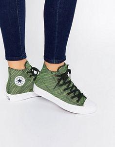 Converse - Chuck Taylor All Star II - Scarpe da ginnastica alte effetto  maglia verde e b7a13100aef1