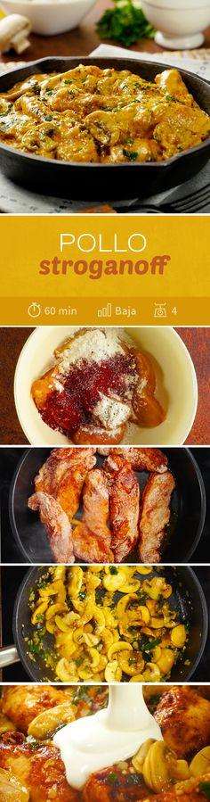Delicioso pollo stroganoff con salsa cremosa de champiñones. Un platillo para días lluviosos o para sorprender a esa persona especial en una #cenaromantica
