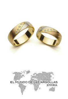 Modelo: A-F55046M Argolla oro florentino 14k macizo con zirconias en diagonal 6mm #ArgollasDeMatrimonio