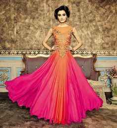 Be your own style icon by wearing this stunning orange and pink gown for your special occasion! Buy Indian Gown online - http://www.aishwaryadesignstudio.com/designer-orange-pink-gown