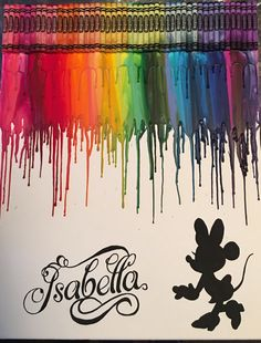 Minnie name crayon painting art by OnceUponACrayon on Etsy