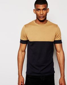 ASOS Knitted Tshirt in Cotton with Blocked Sleeves