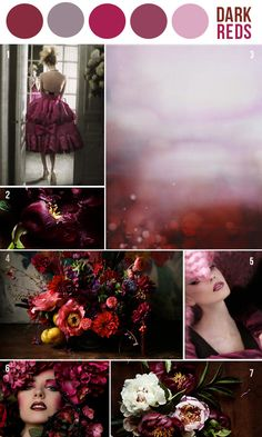 Wedding based on dark red colors. Funky, fun, rich, and different. - can I have that top left hand dress?
