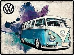 'Volkswagen VW Camper Grunge' Vintage Advertisement on Metal Red Hot Lemon Volkswagen Karmann Ghia, Volkswagen Bus, Vw Camper, Bully Vw, Vans Vw, Combi Split, Bus Art, Vw Parts, Vw Classic