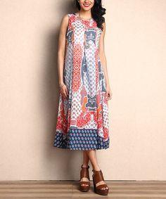 Look at this #zulilyfind! Orange Floral Chiffon Midi Dress #zulilyfinds