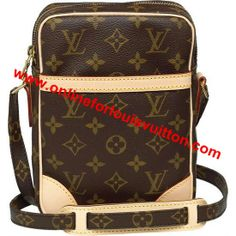 LOUIS VUITTON MONOGRAM CANVAS DANUBE M45266 - Monogram canvas, adjustable shoulder strap, armagnac cross-grain leather lining  - Golden brass pieces  - Zipper closure  - Small interior pocket, exterior open pocket  - Carried on or across the shoulder
