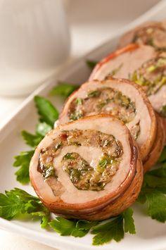 Pork Tenderloin Roulade with a delicious stuffing. Pork Roulade, Roulade Recipe, Pork Recipes, Cooking Recipes, Cooking Pork Tenderloin, Pork Roll, Pork Ham, Smitten Kitchen, Pork Dishes