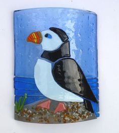 FUSED GLASS ART CURVED PICTURE, PUFFIN | eBay