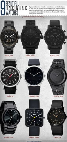 If you've browsed by the watch case in the last year or two you've no doubt witnessed the popularity of watches with a black face and black strap grow to an unlimited number of choices. Here are a few of our affordable favorites. Cool Watches, Black Watches, Nixon Watches, Best Watches For Men, Style Masculin, Patek Philippe, Beautiful Watches, Casio Watch, Luxury Watches