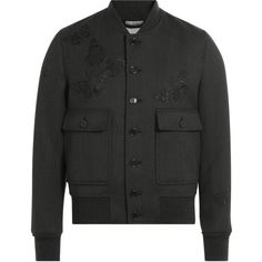 Alexander McQueen Embroidered Wool Jacket ($2,095) ❤ liked on Polyvore featuring men's fashion, men's clothing, men's outerwear, men's jackets, grey, mens wool jacket, mens grey wool jacket, mens slim fit jacket, mens grey jacket and mens slim jacket