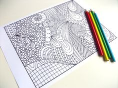 Big Abstract Coloring Pages : Zentangle inspired printable coloring page zendoodle flower page