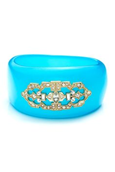 Blue Acrylic Glass Accented Bangle