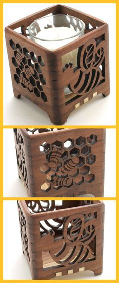 Love this! Honey Bee Black Walnut Candle Holder #ad #Etsy #bee #bees #candleholder