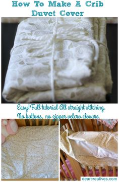 This is an easy sewing DIY how to make a crib size duvet cover. Cover a blanket you have or purchase a down insert. We share how to make one. No zipper, no buttons, we use iron-on Velcro for this duvet cover. This makes it easy for new sewers to complete the project. They make great gifts for baby showers but, are not for newborns. This is for a crib size or toddler bed and meant for toddlers. I do have baby blanket tutorials on the site if you need that.